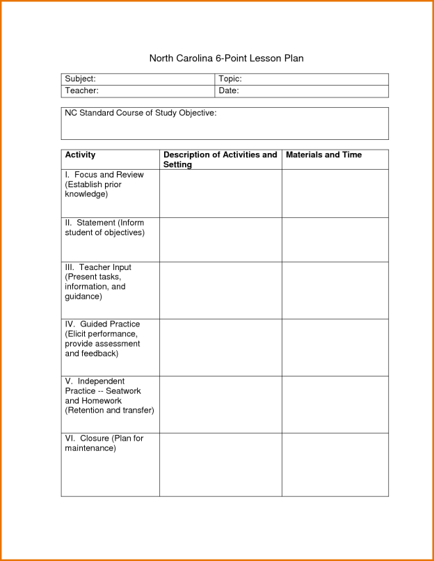 tutor lesson plan template - 6 point lesson plan myeducationeducationdotcom