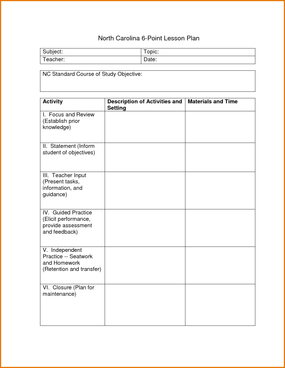 6 point lesson plan template the 6 point lesson plan is a joke lessons from keith